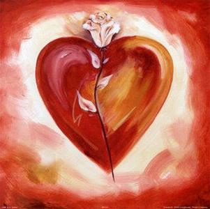 corazón y rosa